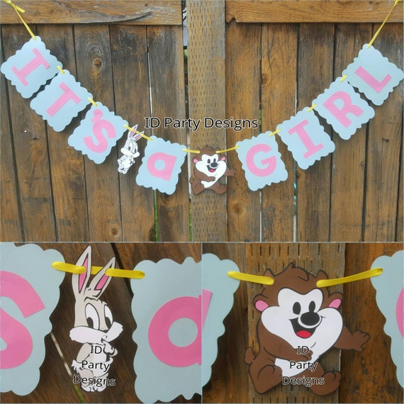 Baby looney tunes banner baby shower centerpieces bugs bunny for Baby looney tune decoration