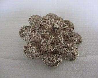 Vintage 950 silver filigree flower brooch  -  Vintage 950 Silver Cannetille flower brooch