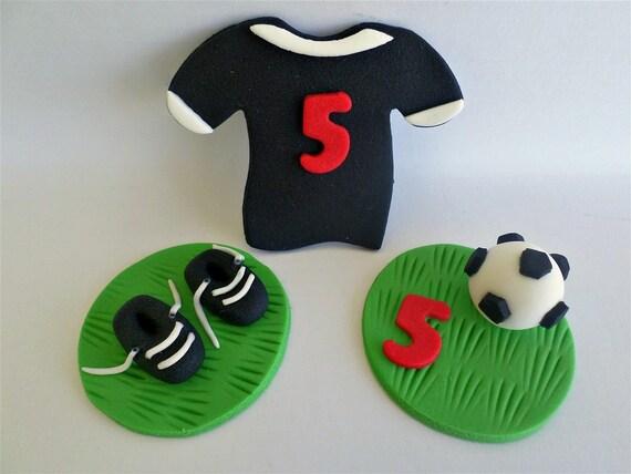 Soccer Cupcake Fondant Edible Toppers Football Boy Birthday