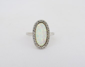 Vintage Sterling Silver Fire Opal & White Topaz Halo Ring Size 7