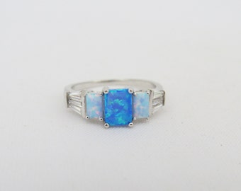 Vintage Sterling Silver Blue White Opal & Baguette White Topaz Ring Size 7