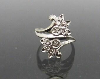 Antique Art Deco 14K Solid White Gold Genuine Diamond Ring Size 5