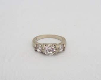 Vintage Sterling Silver White Topaz Engagement Ring Size 8