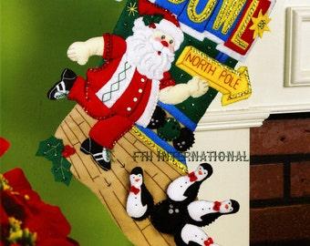 """Bowling Santa  Bucilla 18"""" Felt Christmas Stocking Kit #86452 DIY"""