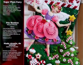 "Bucilla Sugar Plum Fairy ~ 18"" Felt Christmas Stocking Kit #85431, Gingerbread DIY"