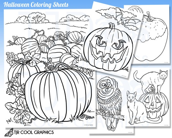 Halloween coloring sheets kids digital realistic jpg printable halloween coloring sheets kids digital realistic jpg printable pumpkins black cat bat apple fall autumn crafts from joycreating on etsy studio sciox Image collections