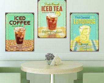 Iced Coffee Tea Lemonade Kitchen Sign Set  - #38385