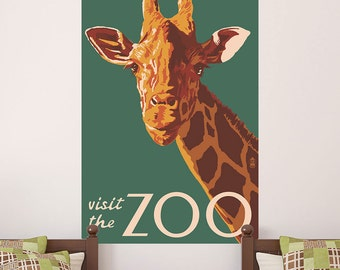 Giraffe Visit the Zoo Ad Wall Decal - #60846