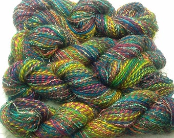 Hand dyed metallic silk wool yarn 75 yds stained glass knitting scarf costumes hats