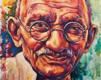Ghandi, Famous People, Portrait, Fine Art Print