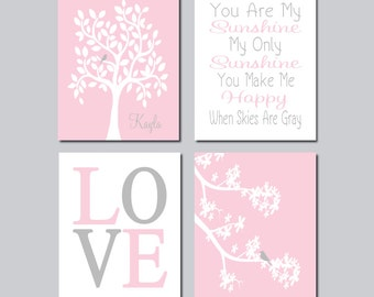 Baby Girl Pink Gray Nursery Wall Art Love Birds Nursery Tree Branch Girl Wall Art Custom Name Set of 4 Prints Or Canvas Baby Shower Gift