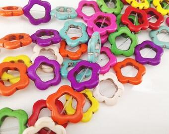 Full Strand 22pcs 18mm Howlite Multi Colored Flower Beads