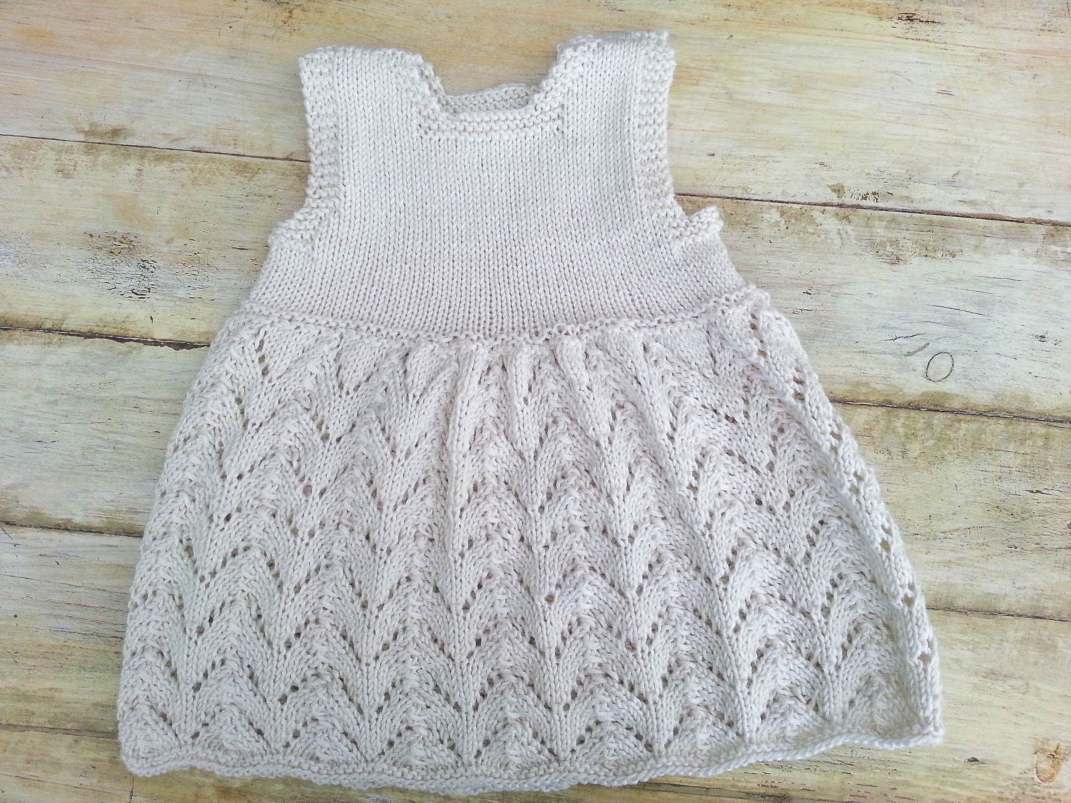 Knitting Patterns For Baby Dresses : KNITTING PATTERN Baby Lace Dress Modern Baby Lace Dress