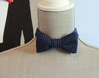 Bow Tie blue polka dot cotton.
