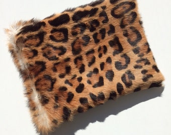 Rabbit Fur Clutch with leopard print