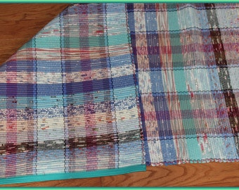 Handwoven Rag Rug Rummer 84 inches long 33 inches wide in a Multiple colors