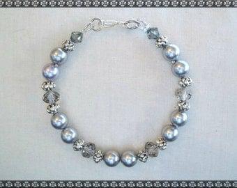 Swarovski bracelet, grey bracelet, silver bracelet, crystal bracelet, swarovski, silver