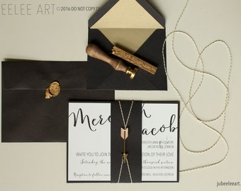 Modern calligraphy wedding invitation black and gold printable PDF template