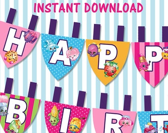 Shopkins Printable Banner Buntings // Shopkins Happy Birthday Party Banner / INSTANT DOWNLOAD