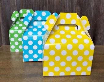 Green, Yellow, Blue  Polka Dot Gable Box - Treat Box  Favor or Gift Box for Birthdays, Christmas, Baby Showers - 36 Ct.
