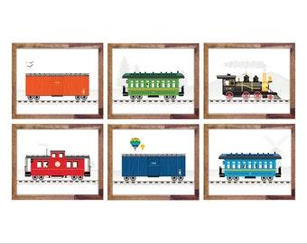 """Set of Six Train Prints 8x10"""""""