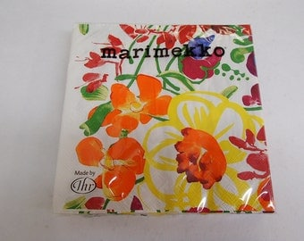 Finnish Marimekko Ursulla Flowers Luncheon Napkins - Two packages of 20