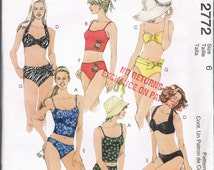UNCUT Size 6 Misses' Bikini Swimsuit Sewing Pattern - McCalls 2772 - Two Piece Swim Suit Pattern