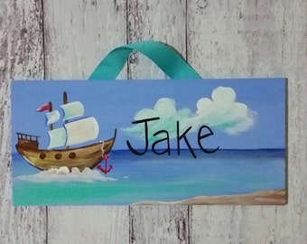 Nautical Pirate Ship personalized name sign for Child's Room