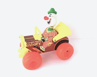 Fisher Price Jolly Jalopy #724, 1960's Pull Toy, Vintage Toys, 1950s Toys, Pull Toys