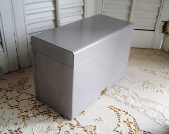 SALE 50% Off -- Vintage Metal Index Card File Box Office Storage Industrial Office Organizer