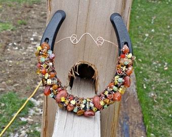 Good Luck Horseshoe, Horseshoe Decor, Horseshoe Wall Hanging, Horse Lover Gift, Fall Colors Horseshoe