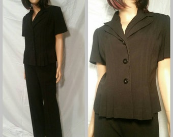 SALE Danny & Nicole Black Two Piece Office Glam Pant Suit for Women Size 8//1980s Clothing//1980s Fashions//Post Career Coutoure