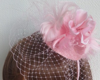pink fascinator ,Wedding,party