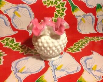 Vintage Fenton milk glass hobnail pink ruffled edge interior bowl