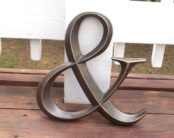 Ampersand Sign / Large Oil Rubbed Bronze And Symbol / Distressed Wall Decor