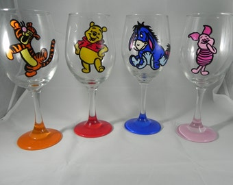 Winnie the Pooh Tigger Eeyore Piglet set of Hand Painted Wine Glasses