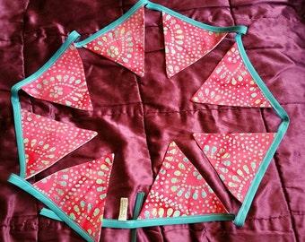 Recycled Turquiose and Cerise Pink Batik Bunting