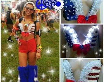 Light Up Uplunge Top, Red, White, and Blue Design, Custom Bra Costume Lingerie Rave Bra