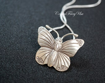 925 Sterling Silver Butterfly Necklace - Butterfly Pendant - Handmade Large Butterfly Jewelry.  Silver Bridal Necklace