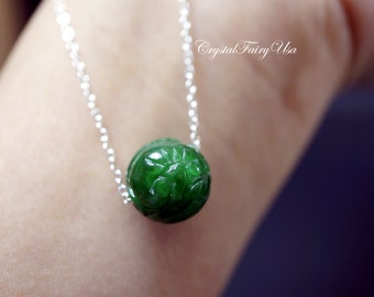 Sterling Silver Green Jade Choker - Emerald Jade Necklace - Totem Jade Necklace