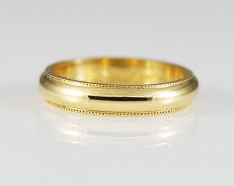 Vintage 14K Yellow Solid Gold Half Round Mill Grain 4mm Wide Band Size 6