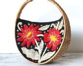 Vintage Circle Wicker and Hand Stitched Floral Bag