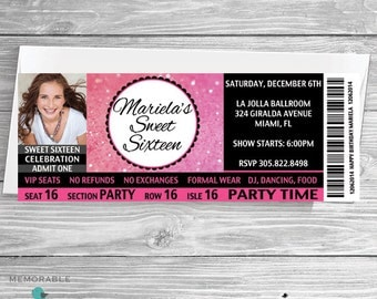 Ticket Sweet 16 Invitation - Sweet Sixteen Invitation - Ticket Invitations - Sweet 16 Invitations - Sweet 16 with Picture - Prinable