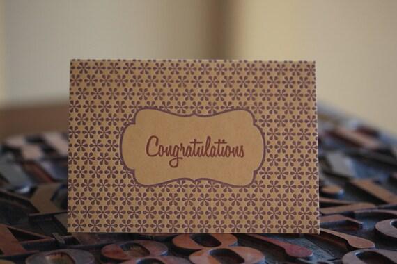 Bown and Purple Congratulations Letterpress Card