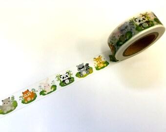 Woodland Animals Paper Washi Tape Scrapbooking Decoration Sticker - Fox - Deer - Panda - Bunny - Squirrel - Raccoon (852)