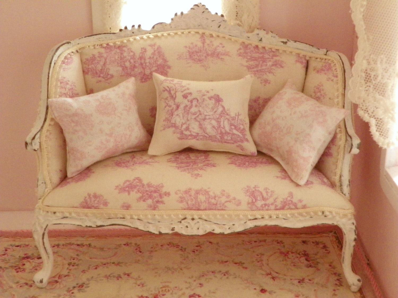 Divano toile de jouy rosa bianco shabby chic per casa di for Divano shabby