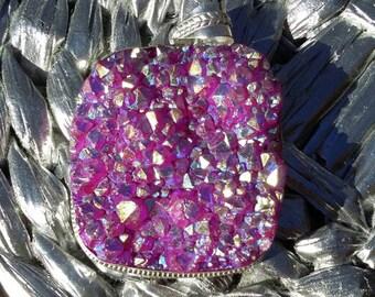 On sale. Pink, titanium, druzy, silver, pendant, necklace.