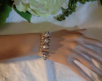 Art Deco Large Three Stone Center Bracelet Rhodium Silver Plated Wedding Bride jewelrybybadabling