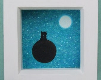 Cat Space Picture: Cat Moon Stars, Romantic Art, Cat Gift, Romantic Cat Picture, Space Art, Cats Planet Moon Stars, Love Cat Picture, Moon
