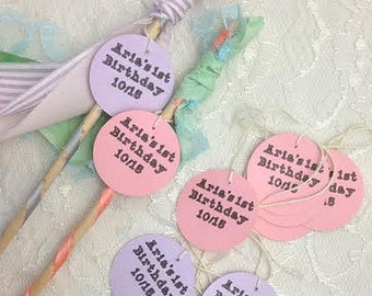 24 Personalized Wands, streamer favors with bell, boy or girl birthday party tags, wedding send off